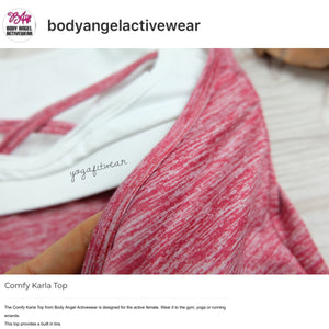 Body Angel Activewear - Comfy Karla  Top (Berry/white) (BA00012)