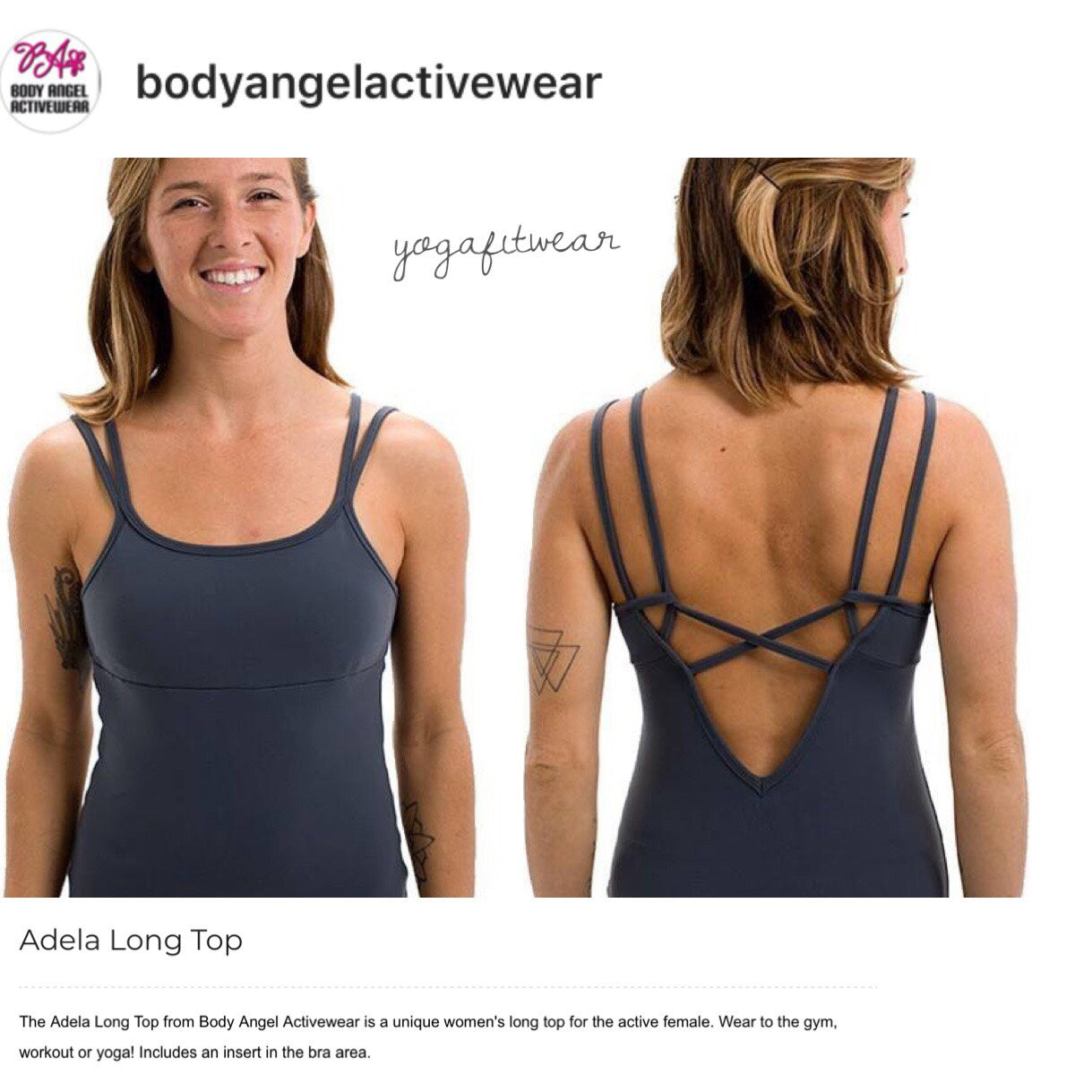 Body Angel Activewear - Adela Long Top (Grey) (BA00015)