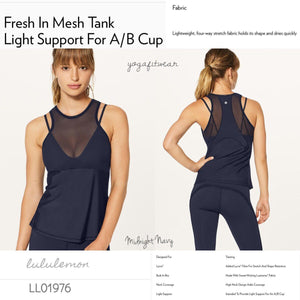 Lululemon -  Fresh In Mesh Tank*Light Support for A/B cup (Midnight Navy) (LL01976)