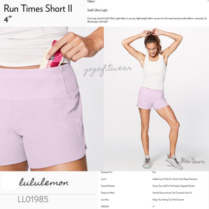 "Lululemon -  Run Times ShortII *4"" (Rose Quartz) (LL01985)"