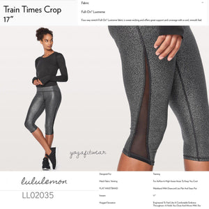 "Lululemon -  Train Times Crop*17"" (Luminosity Foil Print Black Silver/Black) (LL02035)"