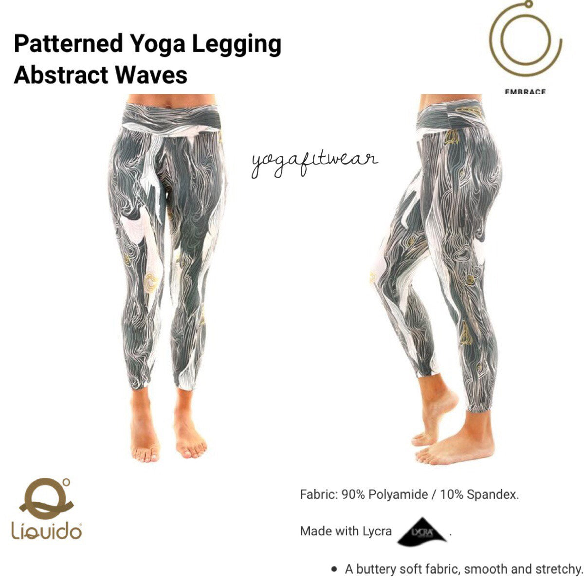 Liquido - Patterned Yoga Legging  : Abstract Waves (LQ00489)