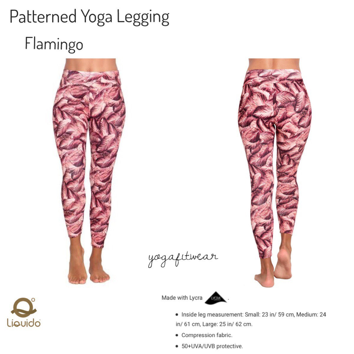 Liquido - Patterned Yoga Legging  : Flamingo (LQ00511)