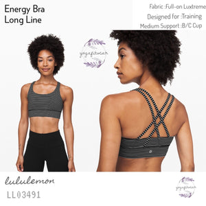 Lululemon - Energy Bra *Long Line (Mod Stripe Black White) (LL03491)