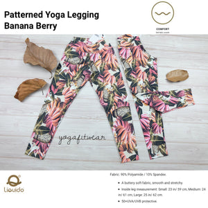 Liquido - Patterned Yoga Legging  :Banana Berry (LQ00518)