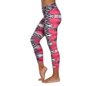 Liquido - Patterned Yoga Legging  :Pink In Flames (LQ00308)