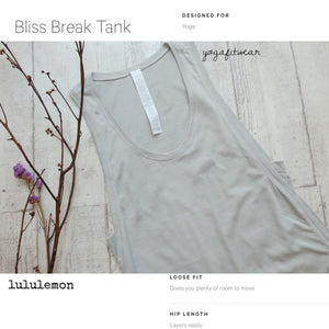 Lululemon -  Bliss Break Tank (Seal Grey) (LL01315)