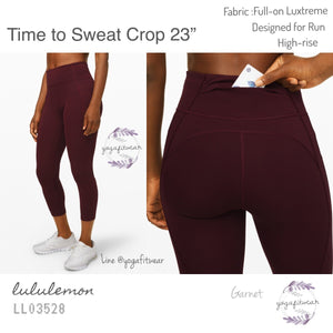 "Lululemon - Time to Sweat Crop *23"" (Garnet) (LL03528)"