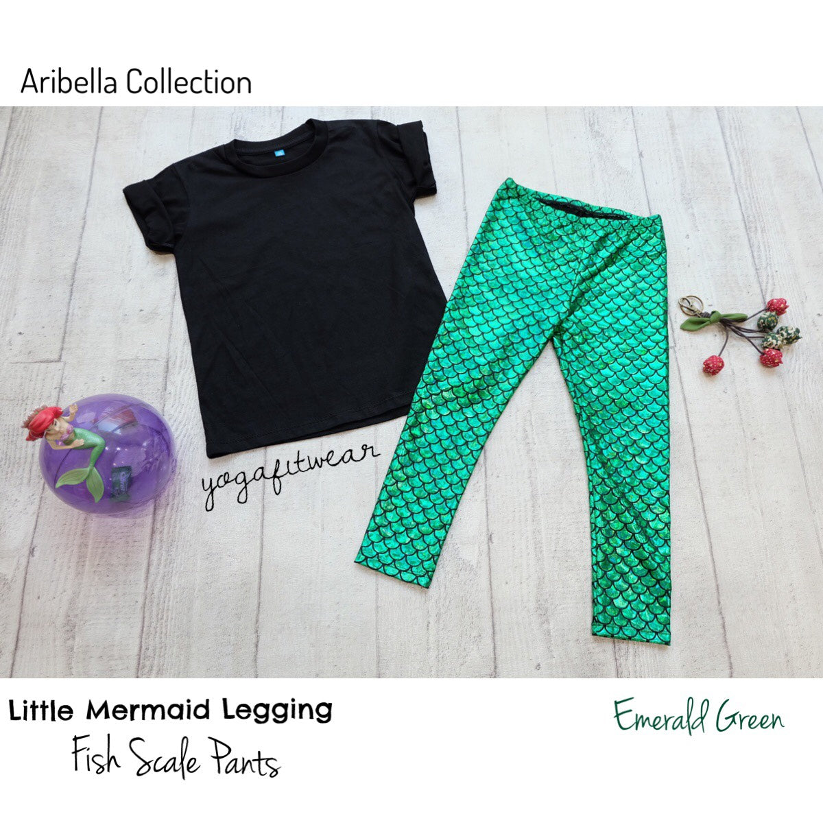 Yogafitwear - Little Mermaid Legging Fish Scale Pants (Emerald Green) (NA00002)