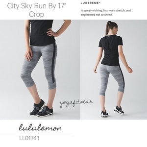 "Lululemon - City Sky Run by 17""Crop (Space dye camo seal grey deep coal /blac) (LL01741)"