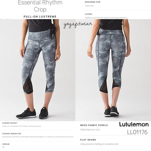 "Lululemon - Essential Rhythm Crop 22"" (Diffusion white black) (LL01176)"