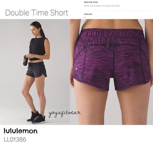 Lululemon - Double Times Short (Life line polar pink black/Heathered Texture printed deep coal black) (LL01386)