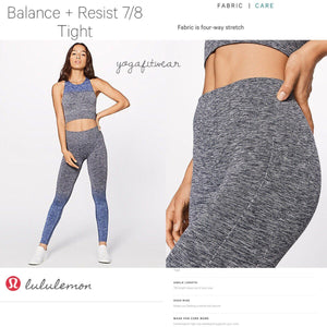 Lululemon -  Balance+Resist 7/8 Tight (Midnight Navy/White Light Cast) (LL02174)