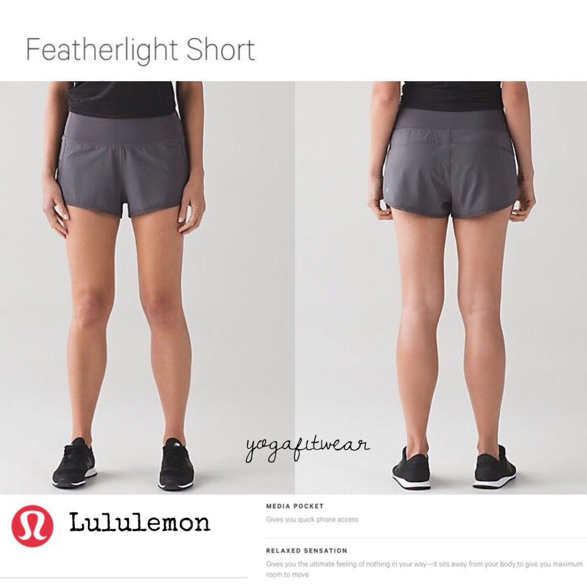 Lululemon - Featherlight Short (Dark Carbon) (LL01434)