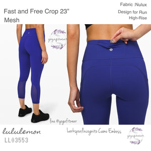 "Lululemon - Fast and Free Crop 23"" Mesh (Larkspur /Incognito Camo Emboss) (LL03553)"