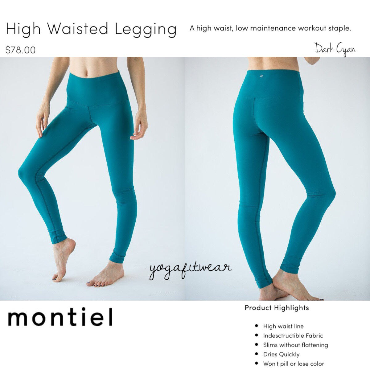 Montiel Legging - High Waisted Legging (Dark Cyan) (MT00089)