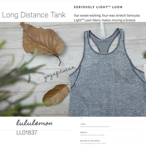 Lululemon - Long Distance Tank(Sheer Luon Pebble Jacquard white black) (LL01837)