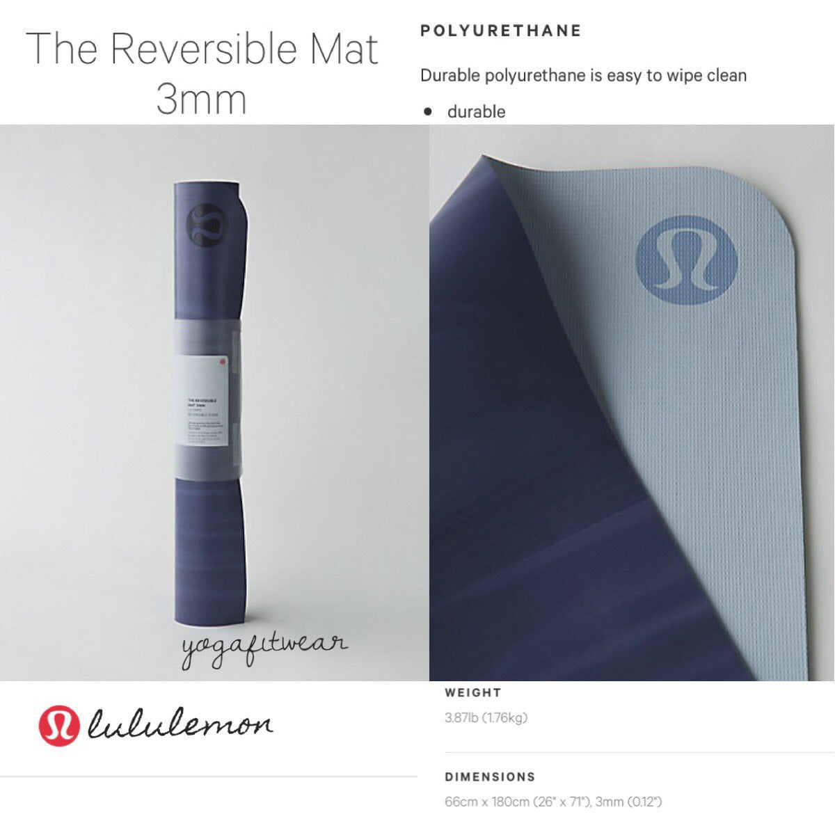 Lululemon mat - The Reversible Mat 3MM. (Hero blue/White/Chalk) (LL01866)