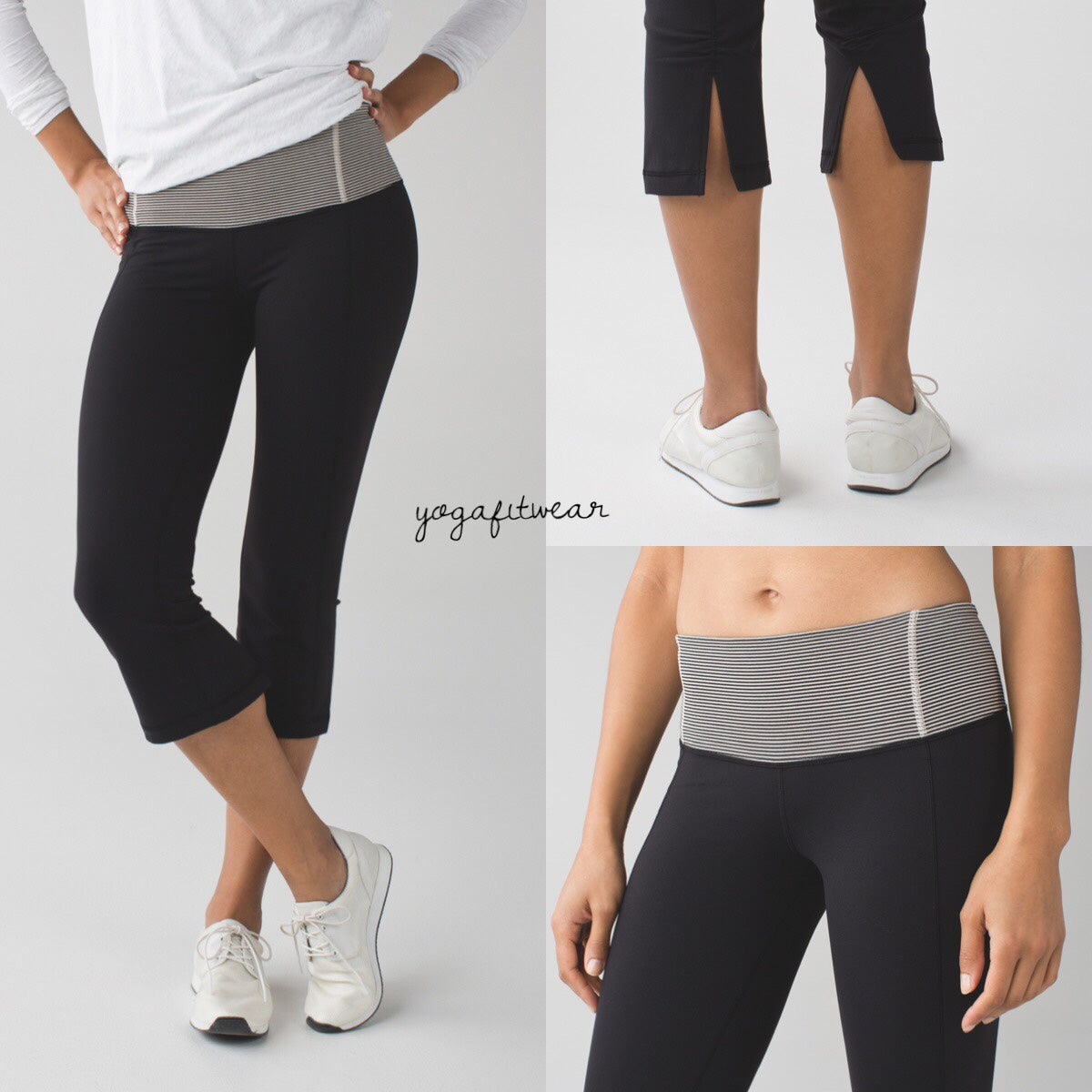 Lululemon - Gather&Crow CropII*Full-on Luon (black/tonka stripe black cashew) (LL00622)
