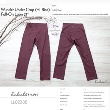 "Lululemon - Wunder Under Crop ( Hi-rise )*Full-on Luon 21"" (Redwood) (LL02388)"