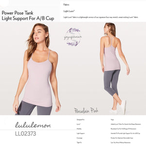 Lululemon - Power Pose Tank*Light Support For A/B Cup (Porcelain Pink) (LL02373)