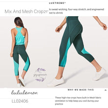 Lululemon -  Mix and Mesh Crop (Teal Shadow/Spirit Green/Eucalyptus) (LL02406)
