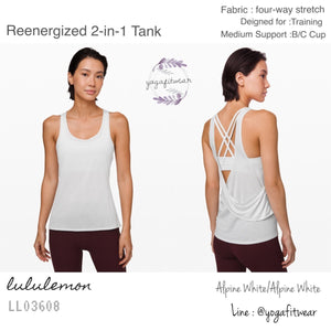 Lululemon - Reenergized 2-in-1 Tank (Alpine White/Alpine White) (LL03608)