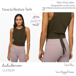 Lululemon : Time to Restore Tank (Dark Olive) (LL03634)