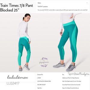 "Lululemon -  Train Times7/8 Pant*Blocked 25"" (Spirit Green/Eucalyptus) (LL02417)"