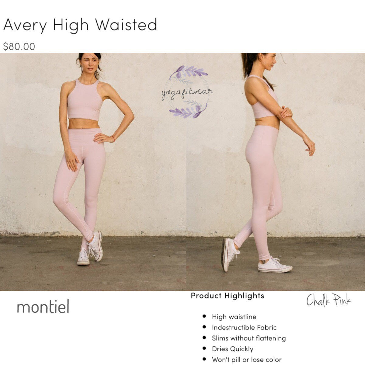 Montiel Legging - High Waisted Legging (Chalk Pink) (MT00109)