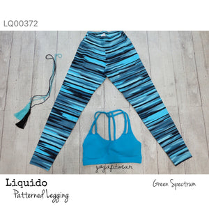 Liquido : Patterned Yoga Legging -B&W The Palms (LQ00379)