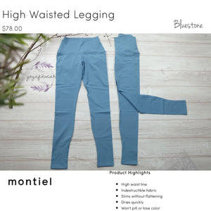 Montiel Legging - High Waisted Legging (Bluestone) (MT00111)