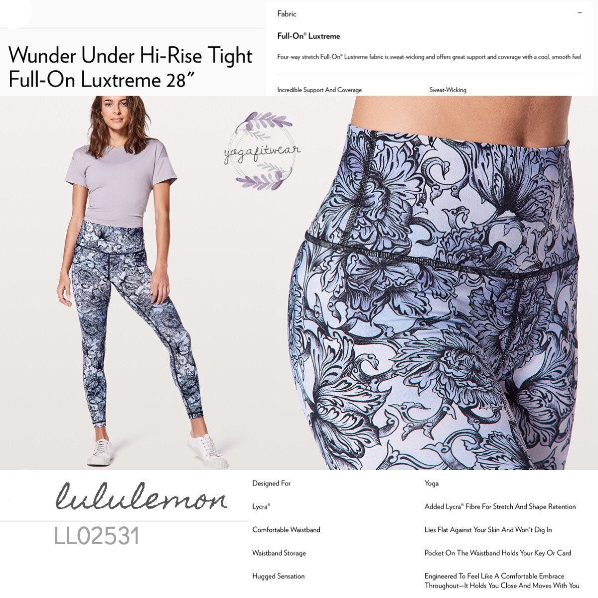 "Lululemon -  Wunder Under* Hi-rise Tight *Full-on Luxtreme28"" (Hanakotoba Starlight Multi) (LL02531)"
