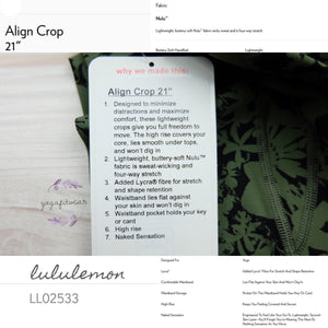 "Lululemon - Align Crop*21"" (Efflorescent Barracks Green Black) (LL02533)"