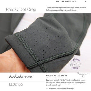 Lululemon - Breezy Dot Crop (Evergreen) (LL02456)