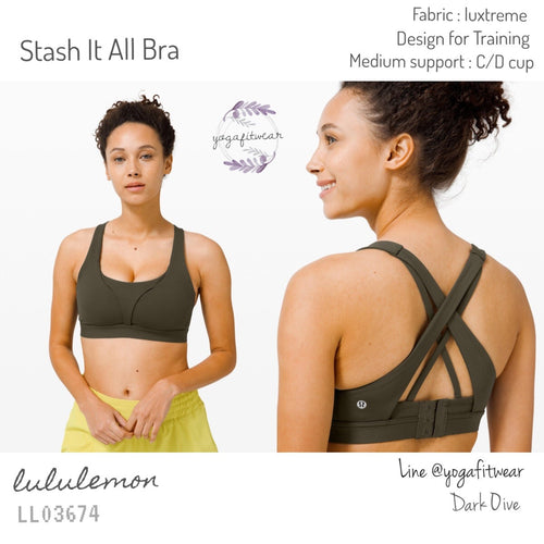 Lululemon : Stash It All Bra (Dark Olive) (LL03674)