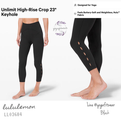 "Lululemon : Unlimit High-Rise Crop 23"" *Keyhole (Black) (LL03684)"