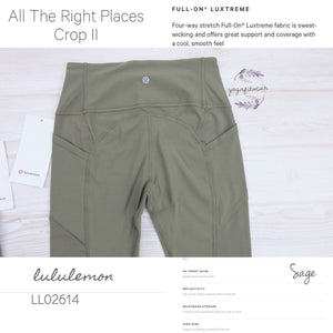 Lululemon - All The Right Places CropII (Sage) (LL02614)