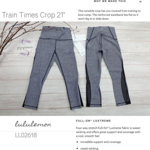 "Lululemon - Train Time Crop21"" (Monochromic Black/Black) (LL02618)"