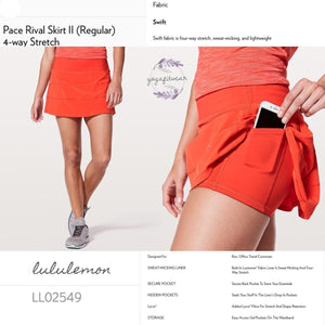 Lululemon - Pace Rival SkirtII(Regular) *4-Way Stretch (Red Orange) (LL02549)