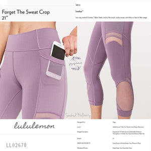 "Lululemon - Forget The Sweat Crop*21"" (Smoked Mulberry) (LL02678)"