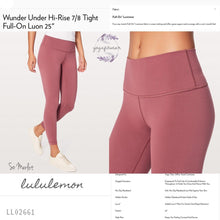 "Lululemon - Wunder Under Hi-rise 7/8 Tight*Full-on Luon *25"" (So Merlot) (LL02661)"