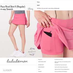 Lululemon - Pace Rival SkirtII(Regular)*4way stretch (Glossy) (LL02675)