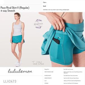Lululemon - Pace Rival SkirtII(Regular)*4way stretch (Teal Blue) (LL02673)