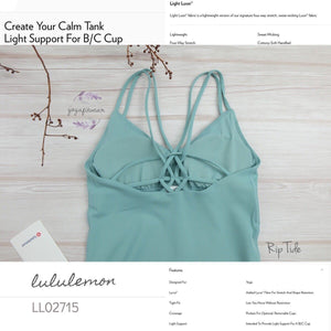 Lululemon - Create Your Calm Tank *Light Support For B/C Cup (Rip Tide) (LL02715)