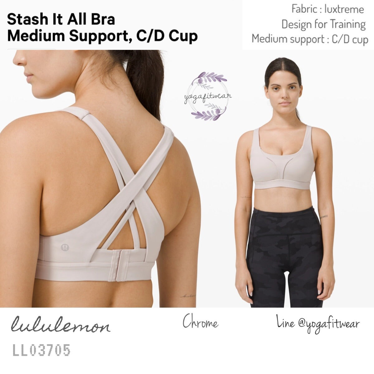 Lululemon : Stash It All Bra *Medium Support C/D Cup (Chrome) (LL03705)