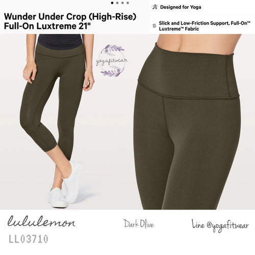 "Lululemon : Wunder Under Crop (High-Rise)*Full-on Luxtreme 21"" (Dark Olive) (LL03710)"