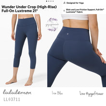 "Lululemon : Wunder Under Crop (High-Rise)*Full-on Luxtreme 21"" (Iron Blue) (LL03711)"
