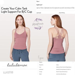 Lululemon - Create Your Calm Tank*Light Support For B/C Cup (Figue) (LL02733)