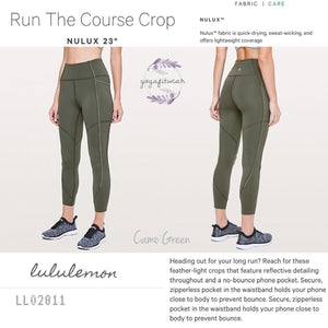 "Lululemon - Run The Course Crop*Nulux23"" (Camo Green) (LL02811)"
